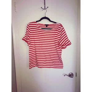 J Crew - Striped Ruffle Sleeve Top